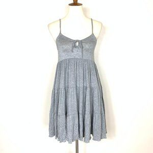 Chaser Lace Up Tiered Dress Heather Gray Medium